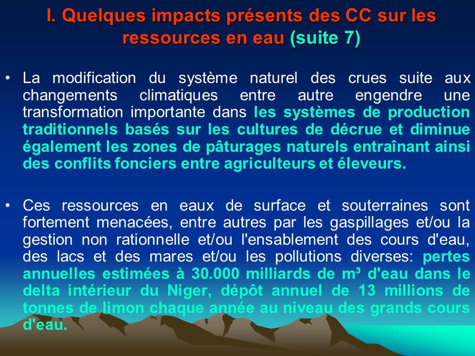 I. Quelques impacts présents des CC sur les ressources en eau (suite 7) La modification du système naturel des crues suite aux changements climatiques