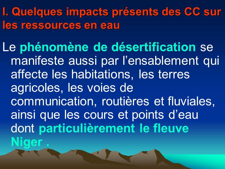 I. Quelques impacts présents des CC sur les ressources en eau Le phénomène de désertification se manifeste aussi par lensablement qui affecte les habi