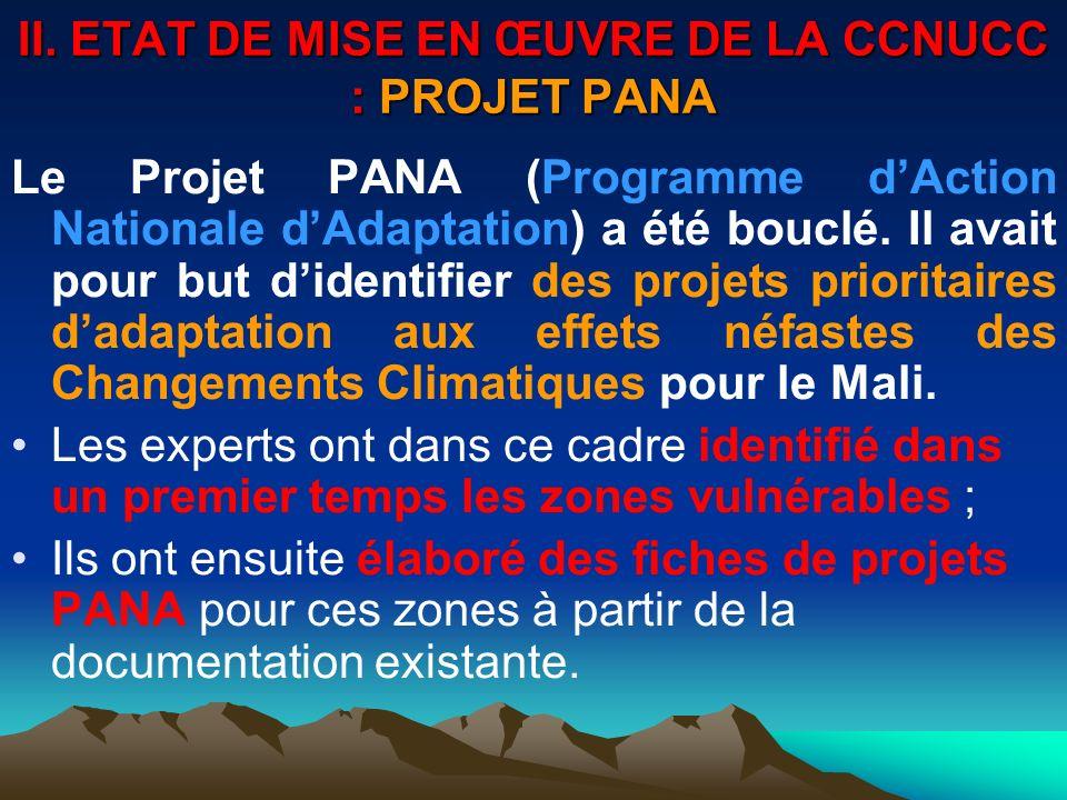 II. ETAT DE MISE EN ŒUVRE DE LA CCNUCC : PROJET PANA Le Projet PANA (Programme dAction Nationale dAdaptation) a été bouclé. Il avait pour but didentif