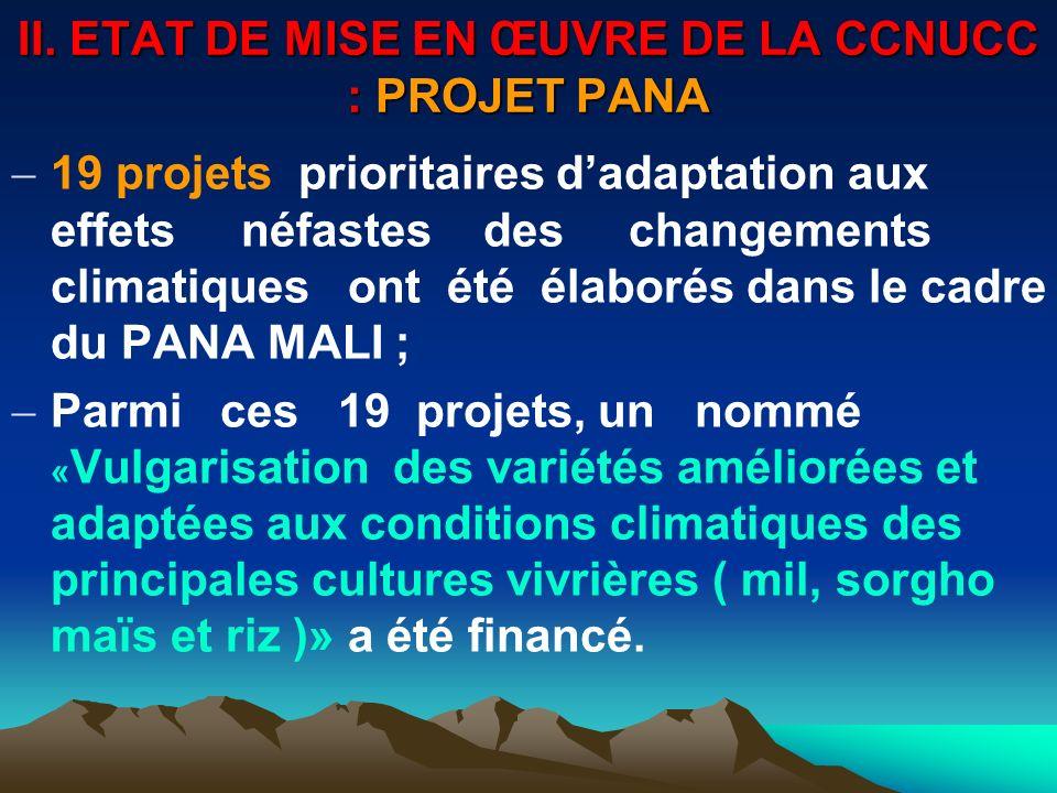 II. ETAT DE MISE EN ŒUVRE DE LA CCNUCC : PROJET PANA 19 projets prioritaires dadaptation aux effets néfastes des changements climatiques ont été élabo
