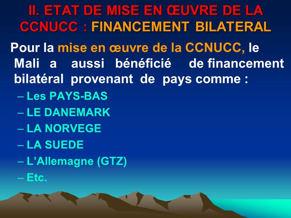 II. ETAT DE MISE EN ŒUVRE DE LA CCNUCC : FINANCEMENT BILATERAL Pour la mise en œuvre de la CCNUCC, le Mali a aussi bénéficié de financement bilatéral