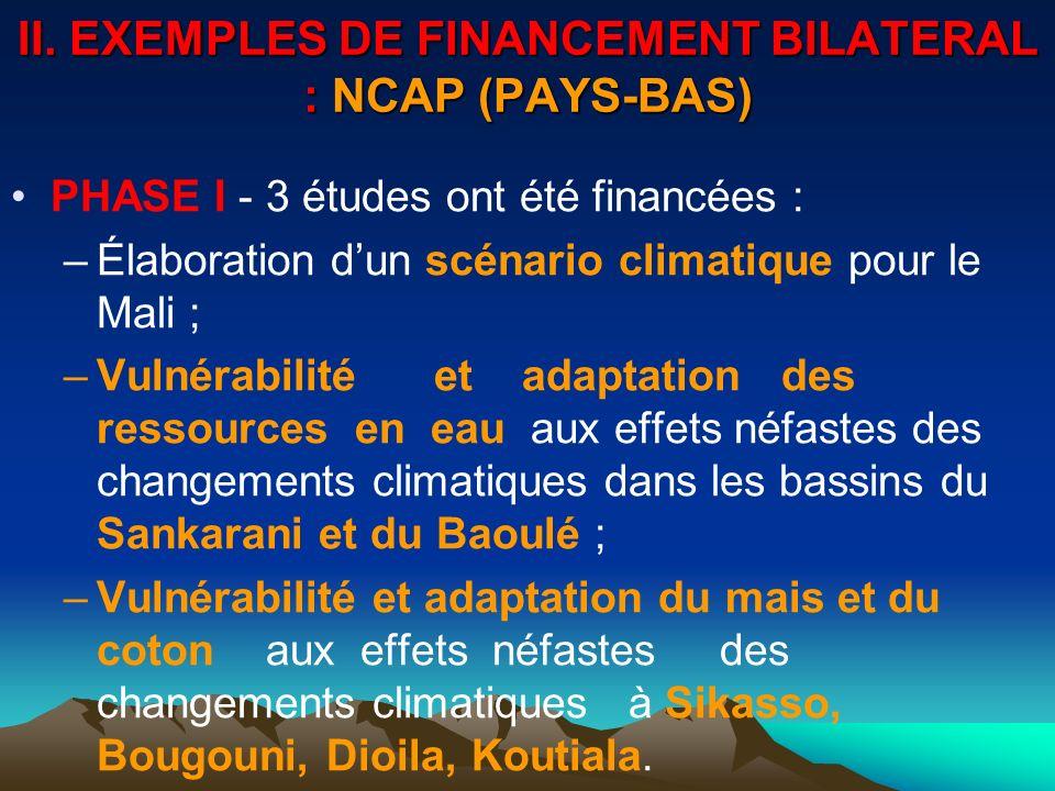 II. EXEMPLES DE FINANCEMENT BILATERAL : NCAP (PAYS-BAS) PHASE I - 3 études ont été financées : –Élaboration dun scénario climatique pour le Mali ; –Vu