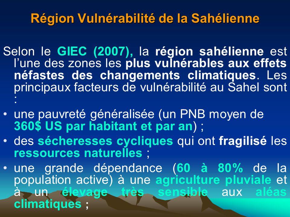 Région Vulnérabilité de la Sahélienne Selon le GIEC (2007), la région sahélienne est lune des zones les plus vulnérables aux effets néfastes des chang