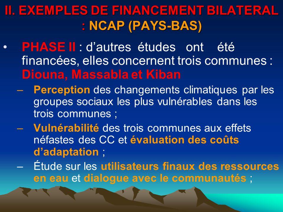 II. EXEMPLES DE FINANCEMENT BILATERAL : NCAP (PAYS-BAS) PHASE II : dautres études ont été financées, elles concernent trois communes : Diouna, Massabl