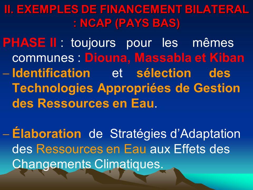 II. EXEMPLES DE FINANCEMENT BILATERAL : NCAP (PAYS BAS) PHASE II : toujours pour les mêmes communes : Diouna, Massabla et Kiban Identification et séle
