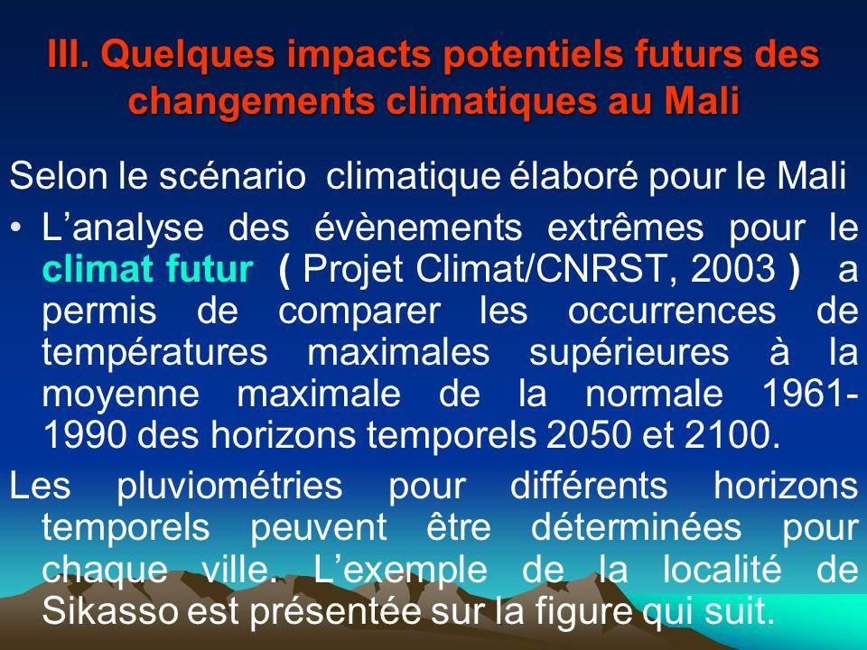 III. Quelques impacts potentiels futurs des changements climatiques au Mali Selon le scénario climatique élaboré pour le Mali Lanalyse des évènements