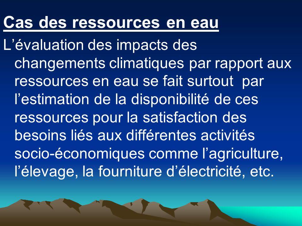 Cas des ressources en eau Lévaluation des impacts des changements climatiques par rapport aux ressources en eau se fait surtout par lestimation de la