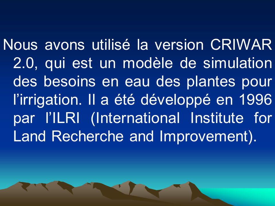 Nous avons utilisé la version CRIWAR 2.0, qui est un modèle de simulation des besoins en eau des plantes pour lirrigation. Il a été développé en 1996