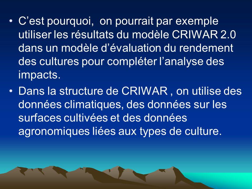 Cest pourquoi, on pourrait par exemple utiliser les résultats du modèle CRIWAR 2.0 dans un modèle dévaluation du rendement des cultures pour compléter