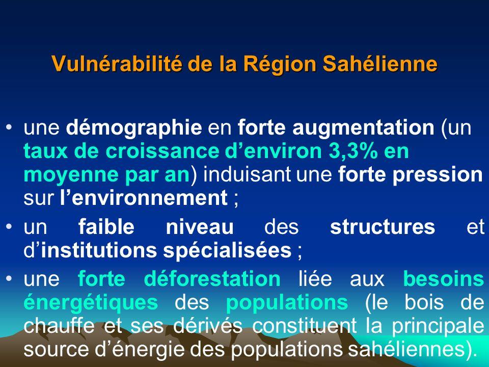 Vulnérabilité de la Région Sahélienne une démographie en forte augmentation (un taux de croissance denviron 3,3% en moyenne par an) induisant une fort