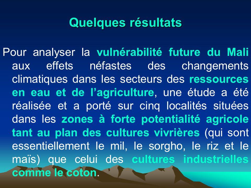 Quelques résultats Pour analyser la vulnérabilité future du Mali aux effets néfastes des changements climatiques dans les secteurs des ressources en e