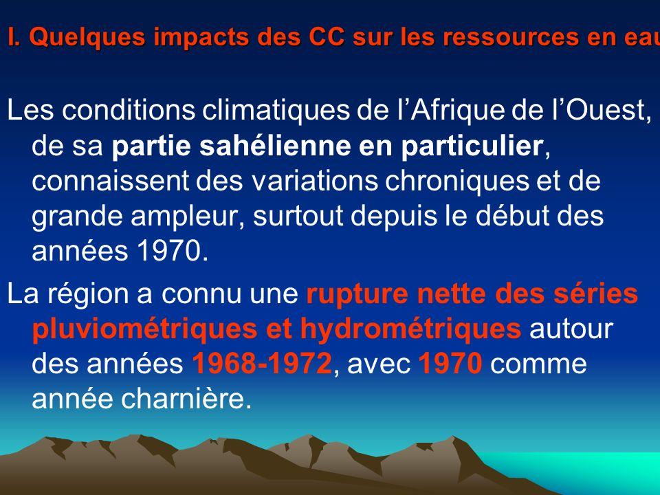 I. Quelques impacts des CC sur les ressources en eau Les conditions climatiques de lAfrique de lOuest, de sa partie sahélienne en particulier, connais