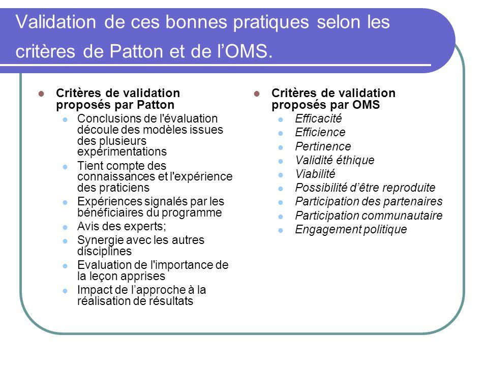 Validation de ces bonnes pratiques selon les critères de Patton et de lOMS.