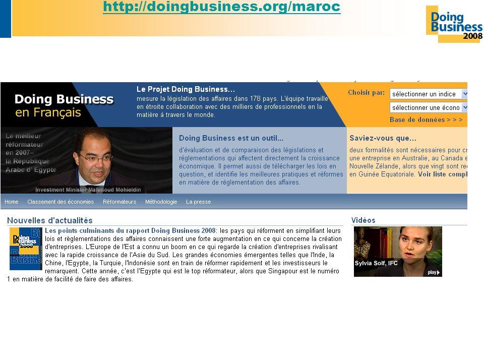 Pour plus dinformation visiter: http://doingbusiness.org/maroc http://doingbusiness.org/maroc