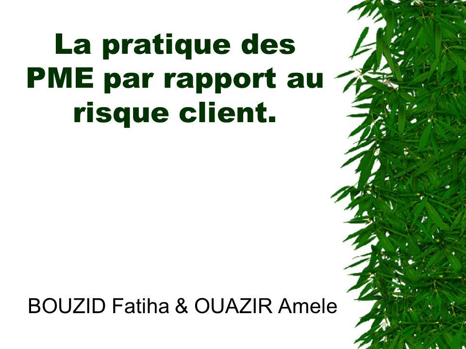 La pratique des PME par rapport au risque client. BOUZID Fatiha & OUAZIR Amele