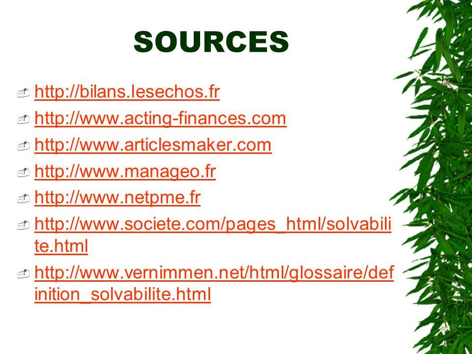 SOURCES http://bilans.lesechos.fr http://www.acting-finances.com http://www.articlesmaker.com http://www.manageo.fr http://www.netpme.fr http://www.so