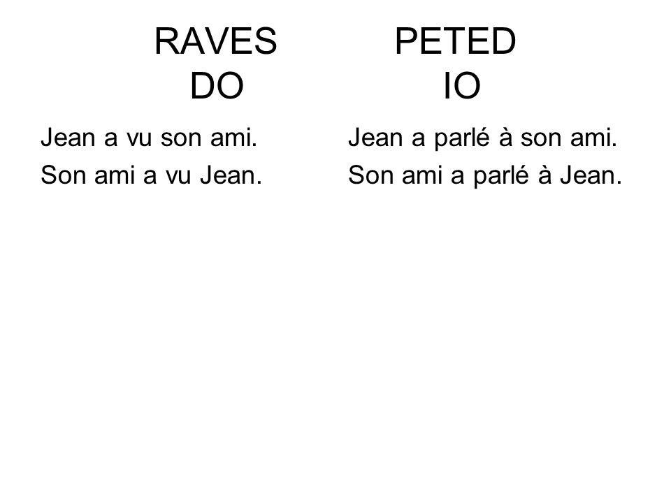 RAVES PETED DO IO Jean a vu son ami. Son ami a vu Jean. Jean a parlé à son ami. Son ami a parlé à Jean.