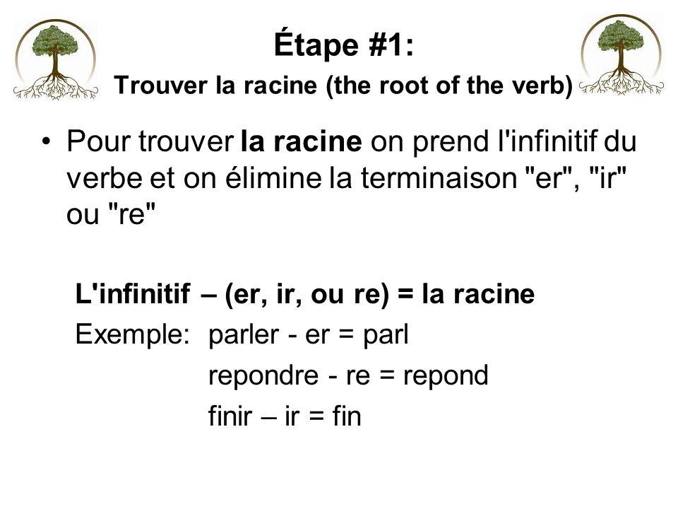 Étape #1: Trouver la racine (the root of the verb) Pour trouver la racine on prend l'infinitif du verbe et on élimine la terminaison