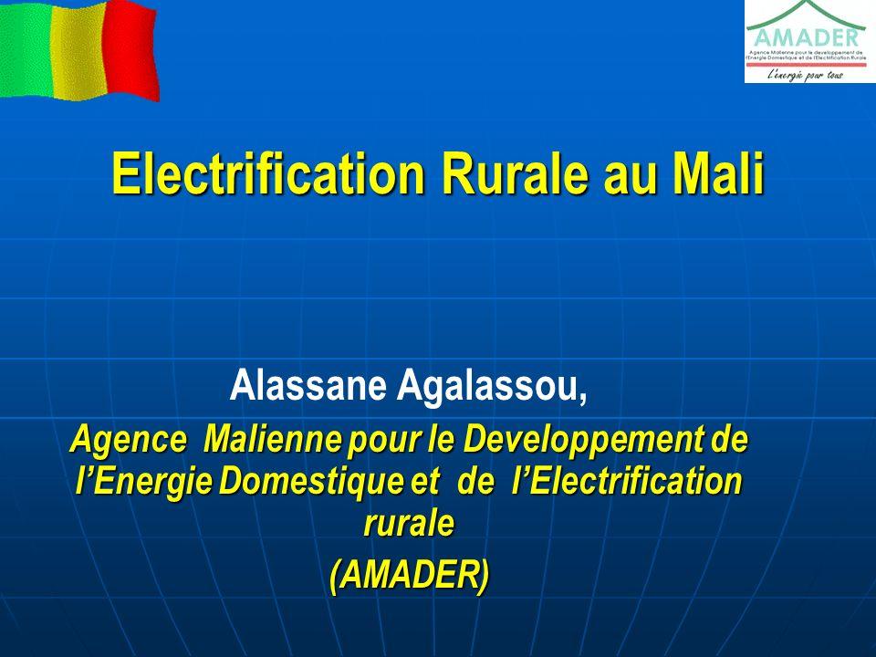 Sommaire Cadre institutionnel du secteur de lElectricité au Mali LElectrification rurale AMADER Organisation Strategies et méthodes dintervention Les Projets de Candidatures Spontanées dElectrification Rurale (PCASER) Les résultats