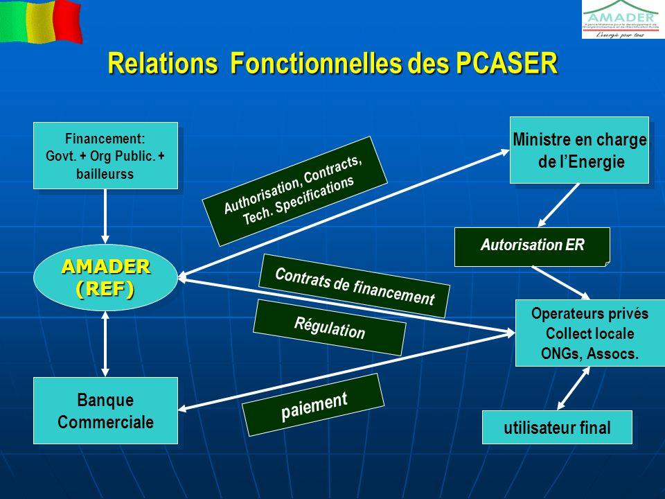 Relations Fonctionnelles des PCASER Financement: Govt. + Org Public. + bailleurss Financement: Govt. + Org Public. + bailleurss Ministre en charge de