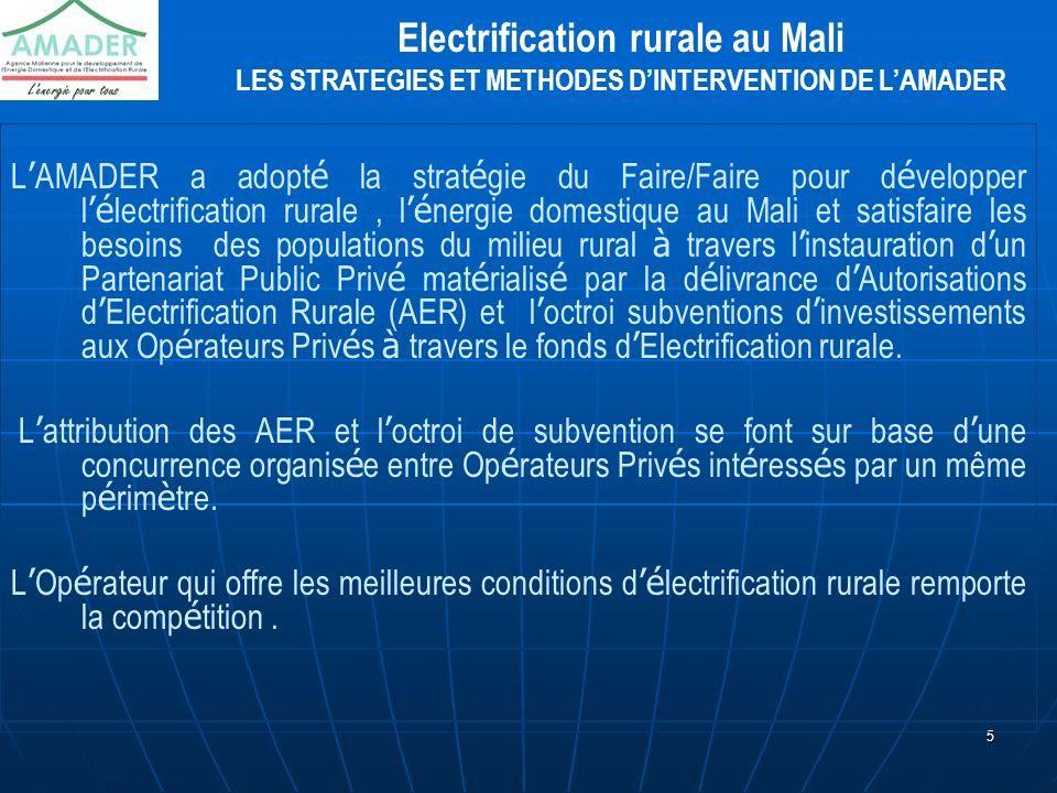 5 L AMADER a adopt é la strat é gie du Faire/Faire pour d é velopper l é lectrification rurale, l é nergie domestique au Mali et satisfaire les besoin