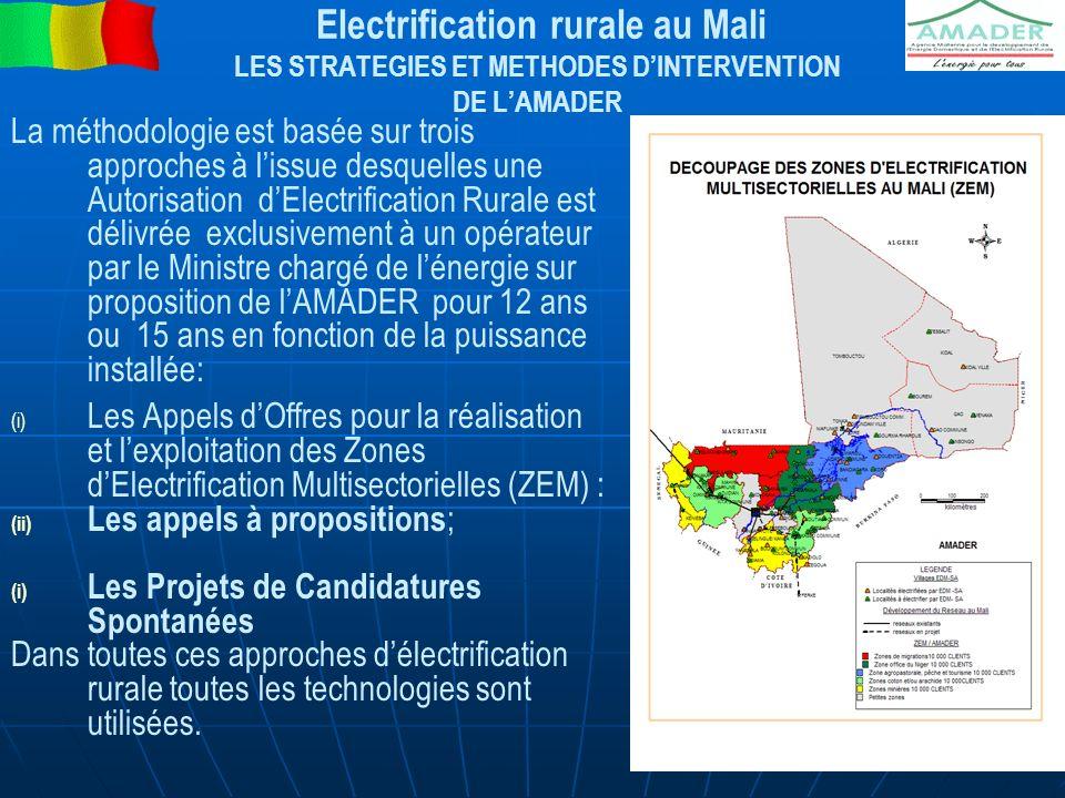 Electrification rurale au Mali CAS DES PCASER Les Candidatures Spontanées concernent des projets d ER (PCASER) de type villageois ou communal, initiés par des acteurs publics ou privés locaux tels que les collectivités locales, les associations ou groupements villageois et des opérateurs privé avec une Subvention des coûts dinvestissements (maxi de 80%).