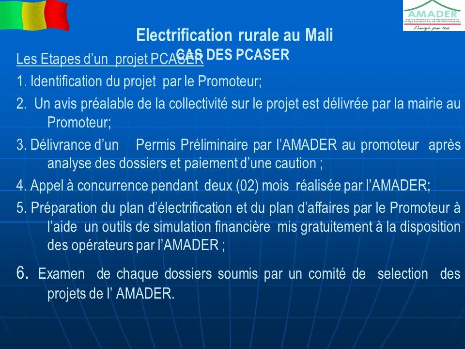 Electrification rurale au Mali CAS DES PCASER Les Etapes dun projet PCASER 1. Identification du projet par le Promoteur; 2. Un avis préalable de la co