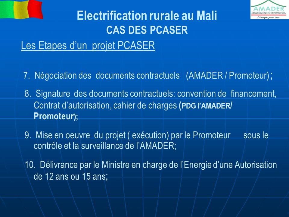 Electrification rurale au Mali CAS DES PCASER Les Etapes dun projet PCASER 7. Négociation des documents contractuels (AMADER / Promoteur) ; 8. Signatu