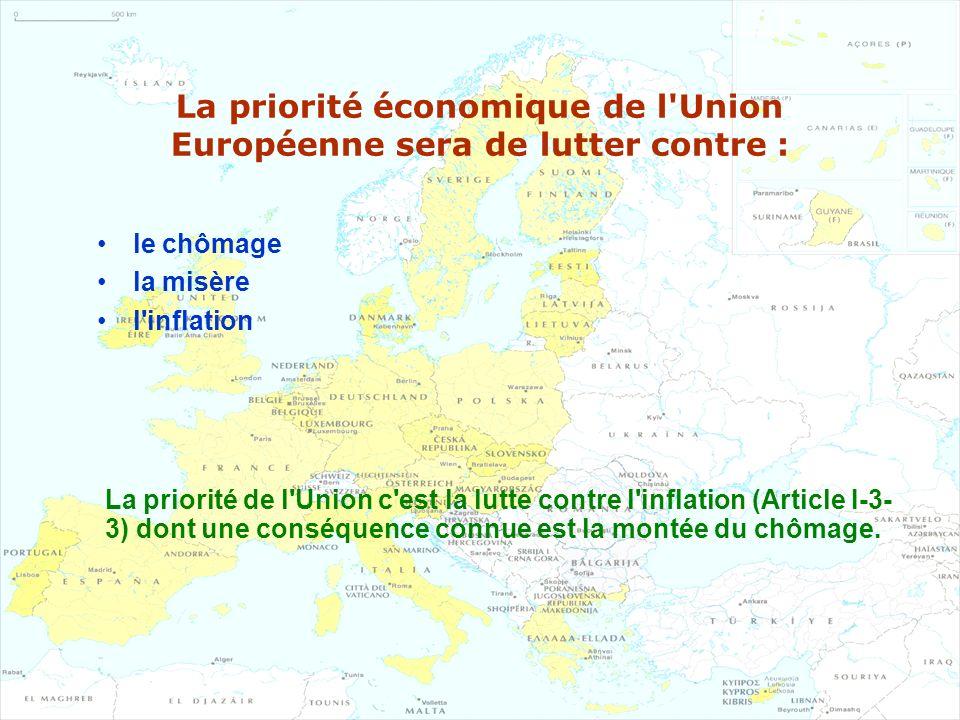 La priorité économique de l'Union Européenne sera de lutter contre : le chômage la misère l'inflation La priorité de l'Union c'est la lutte contre l'i