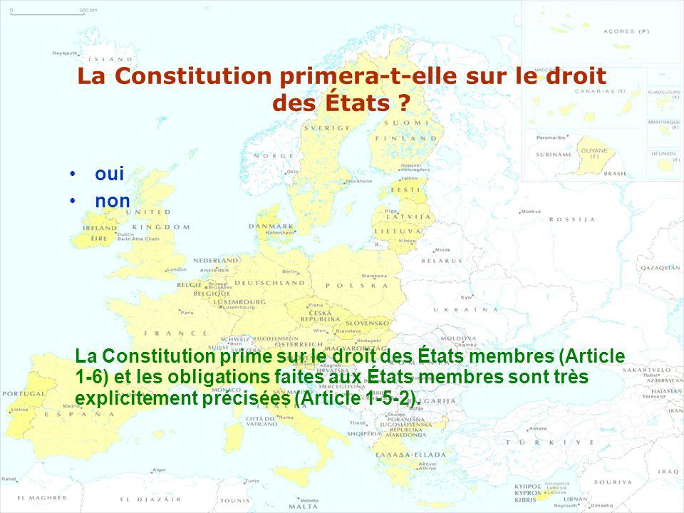 La Constitution primera-t-elle sur le droit des États ? oui non La Constitution prime sur le droit des États membres (Article 1-6) et les obligations