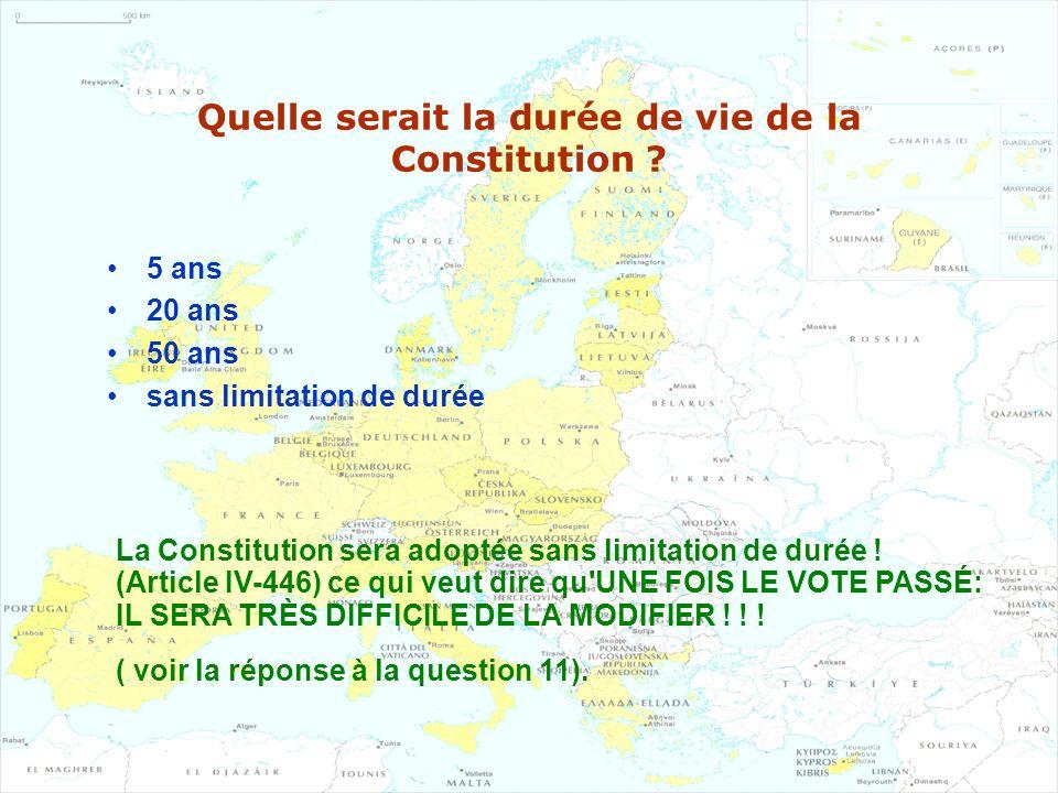 Quelle serait la durée de vie de la Constitution ? 5 ans 20 ans 50 ans sans limitation de durée La Constitution sera adoptée sans limitation de durée