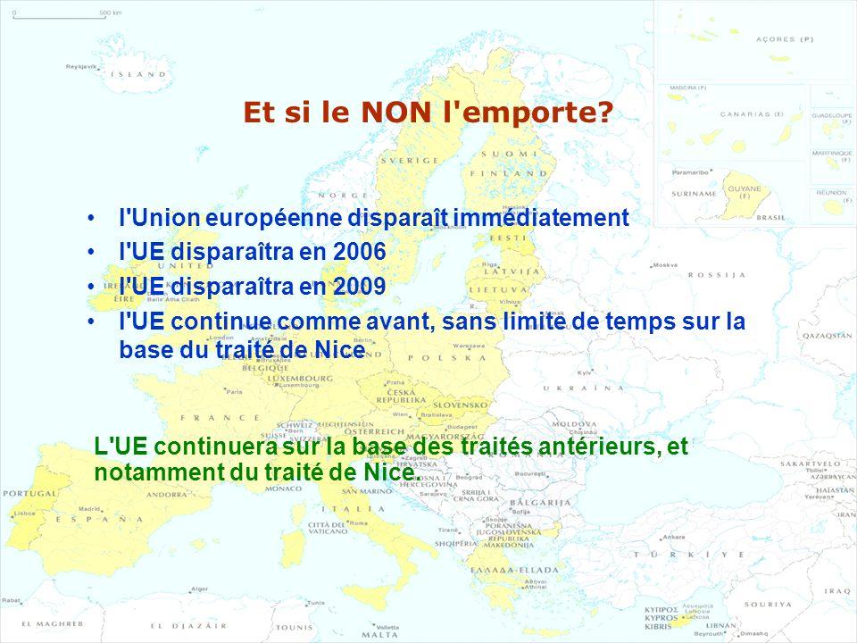 Et si le NON l'emporte? l'Union européenne disparaît immédiatement l'UE disparaîtra en 2006 l'UE disparaîtra en 2009 l'UE continue comme avant, sans l