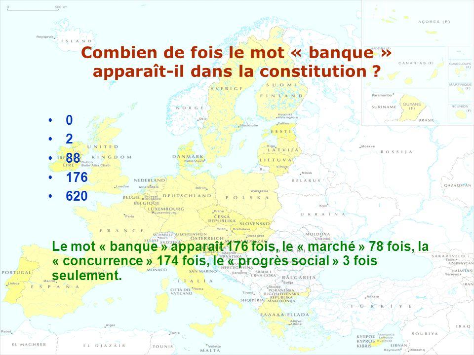 Combien de fois le mot « banque » apparaît-il dans la constitution ? 0 2 88 176 620 Le mot « banque » apparaît 176 fois, le « marché » 78 fois, la « c