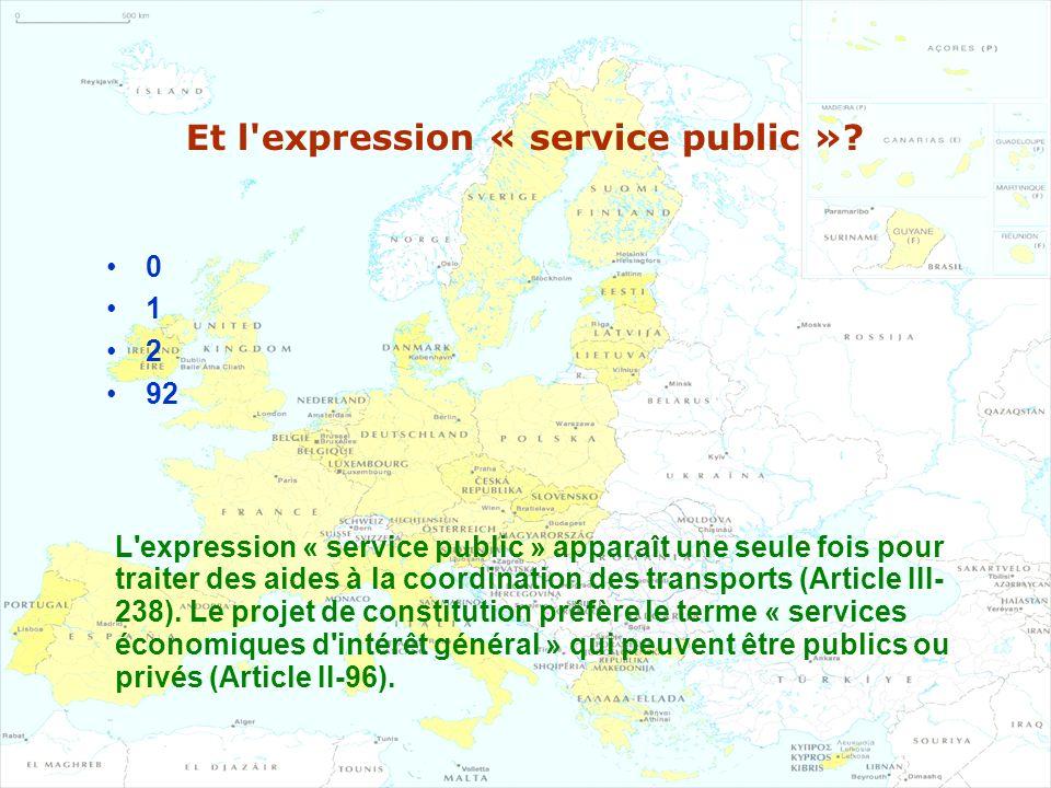 Et l'expression « service public »? 0 1 2 92 L'expression « service public » apparaît une seule fois pour traiter des aides à la coordination des tran