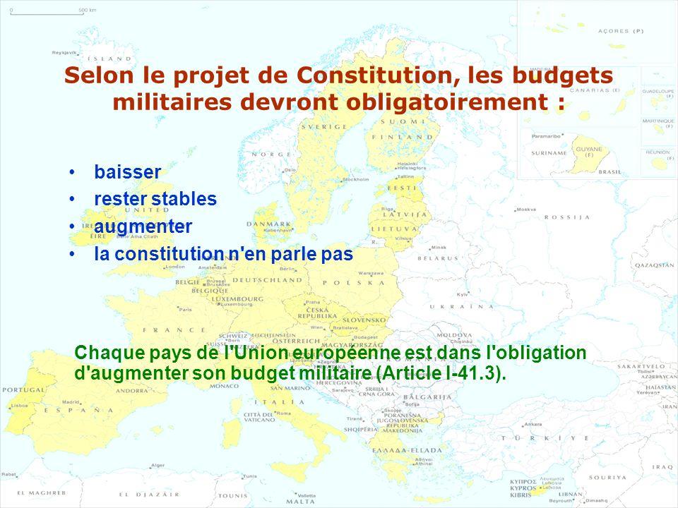 Selon le projet de Constitution, les budgets militaires devront obligatoirement : baisser rester stables augmenter la constitution n'en parle pas Chaq