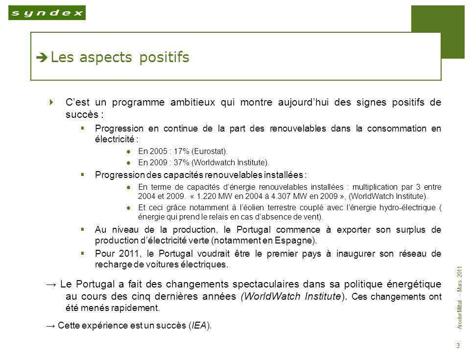 ArcelorMittal – Mars 2011 3 Les aspects positifs Cest un programme ambitieux qui montre aujourdhui des signes positifs de succès : Progression en cont