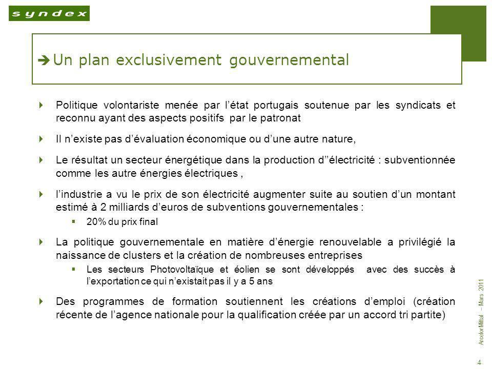 ArcelorMittal – Mars 2011 4 Un plan exclusivement gouvernemental Politique volontariste menée par létat portugais soutenue par les syndicats et reconn