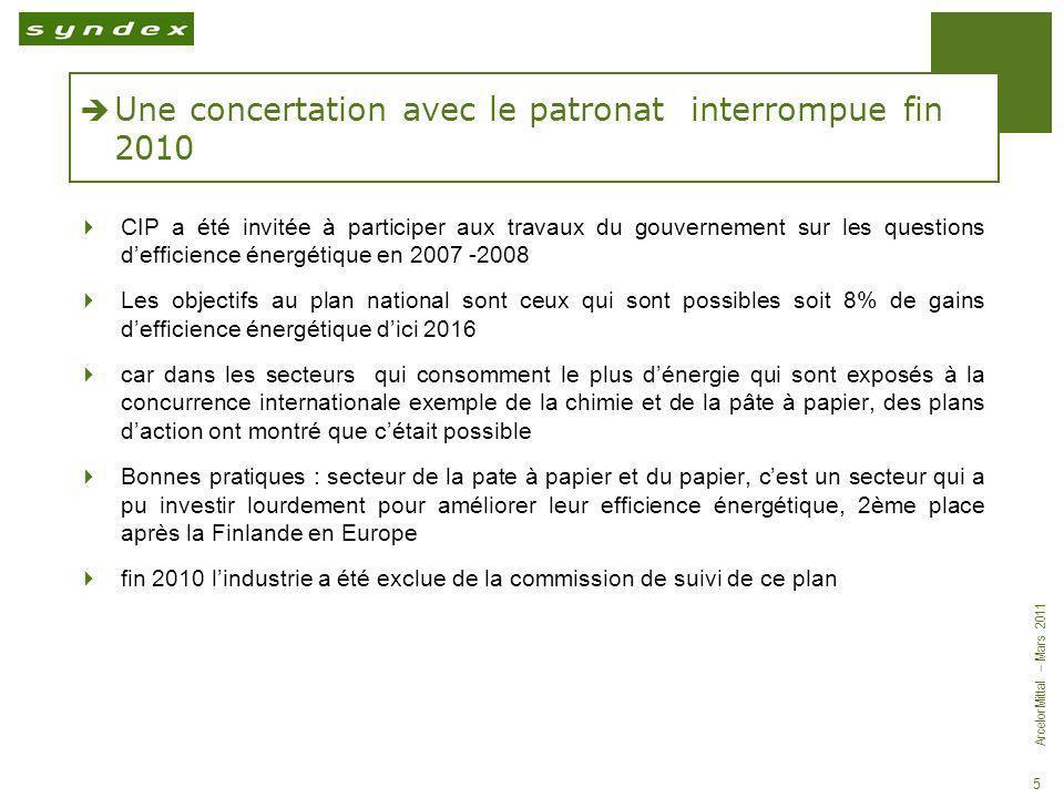 ArcelorMittal – Mars 2011 5 Une concertation avec le patronat interrompue fin 2010 CIP a été invitée à participer aux travaux du gouvernement sur les