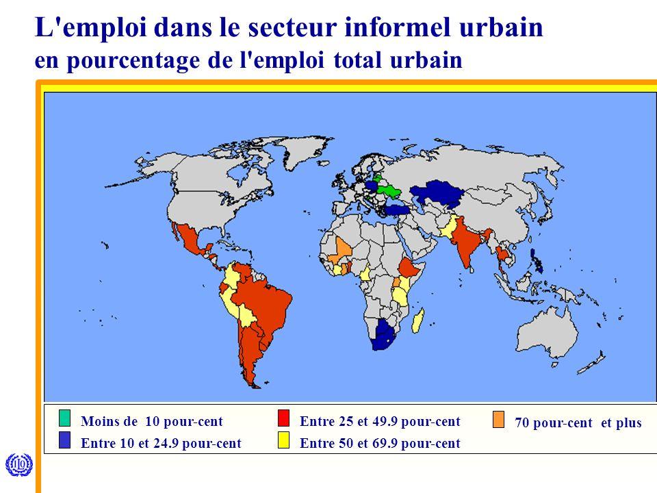 Moins de 10 pour-cent Entre 10 et 24.9 pour-cent Entre 25 et 49.9 pour-cent Entre 50 et 69.9 pour-cent 70 pour-cent et plus L emploi dans le secteur informel urbain en pourcentage de l emploi total urbain