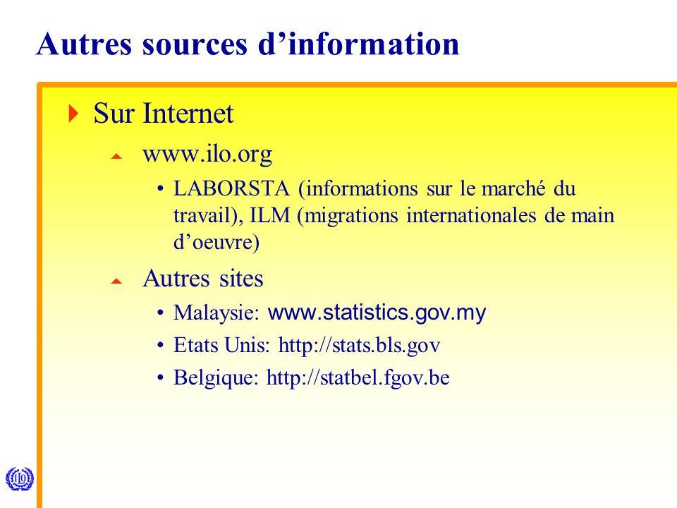 Autres sources dinformation Sur Internet www.ilo.org LABORSTA (informations sur le marché du travail), ILM (migrations internationales de main doeuvre) Autres sites Malaysie: www.statistics.gov.my Etats Unis: http://stats.bls.gov Belgique: http://statbel.fgov.be