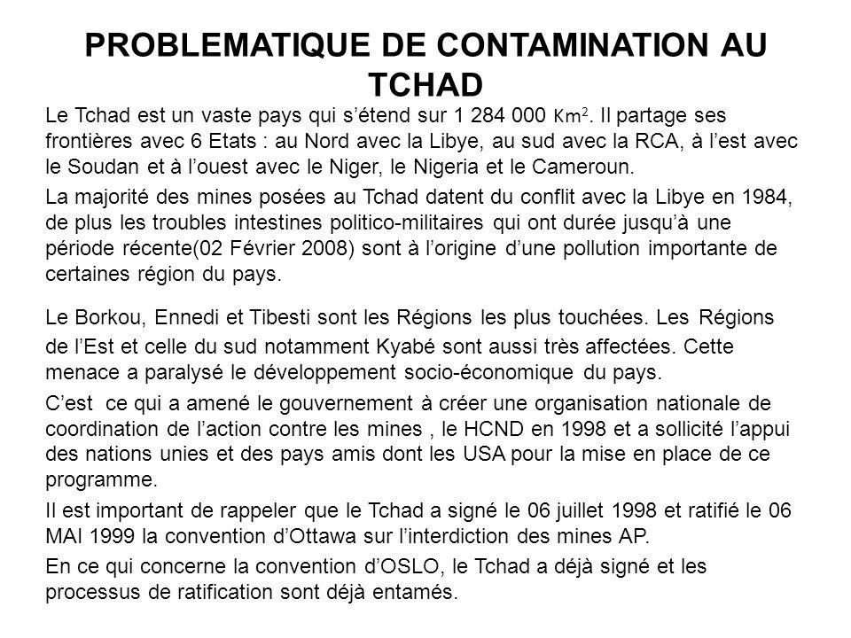 PROBLEMATIQUE DE CONTAMINATION AU TCHAD Le Tchad est un vaste pays qui sétend sur 1 284 000 Km 2. Il partage ses frontières avec 6 Etats : au Nord ave