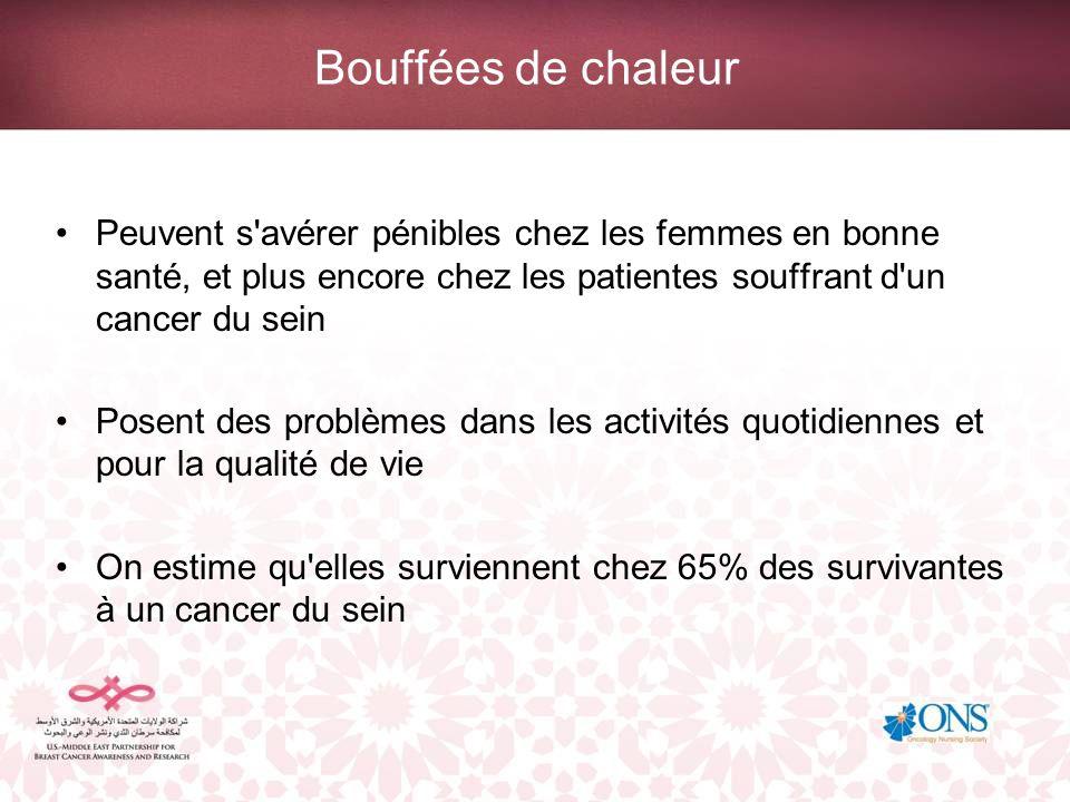 Bouffées de chaleur Peuvent s'avérer pénibles chez les femmes en bonne santé, et plus encore chez les patientes souffrant d'un cancer du sein Posent d
