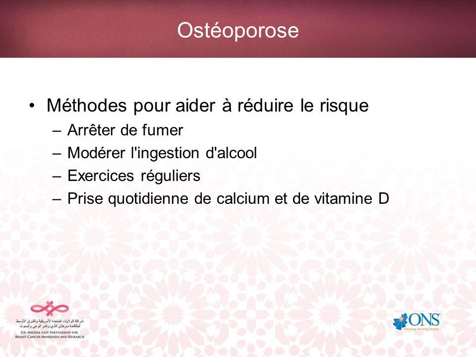 Ostéoporose Méthodes pour aider à réduire le risque –Arrêter de fumer –Modérer l'ingestion d'alcool –Exercices réguliers –Prise quotidienne de calcium