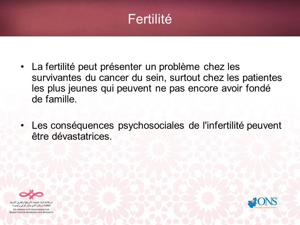 Fertilité La fertilité peut présenter un problème chez les survivantes du cancer du sein, surtout chez les patientes les plus jeunes qui peuvent ne pa