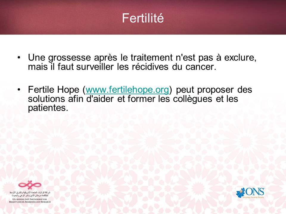 Fertilité Une grossesse après le traitement n'est pas à exclure, mais il faut surveiller les récidives du cancer. Fertile Hope (www.fertilehope.org) p