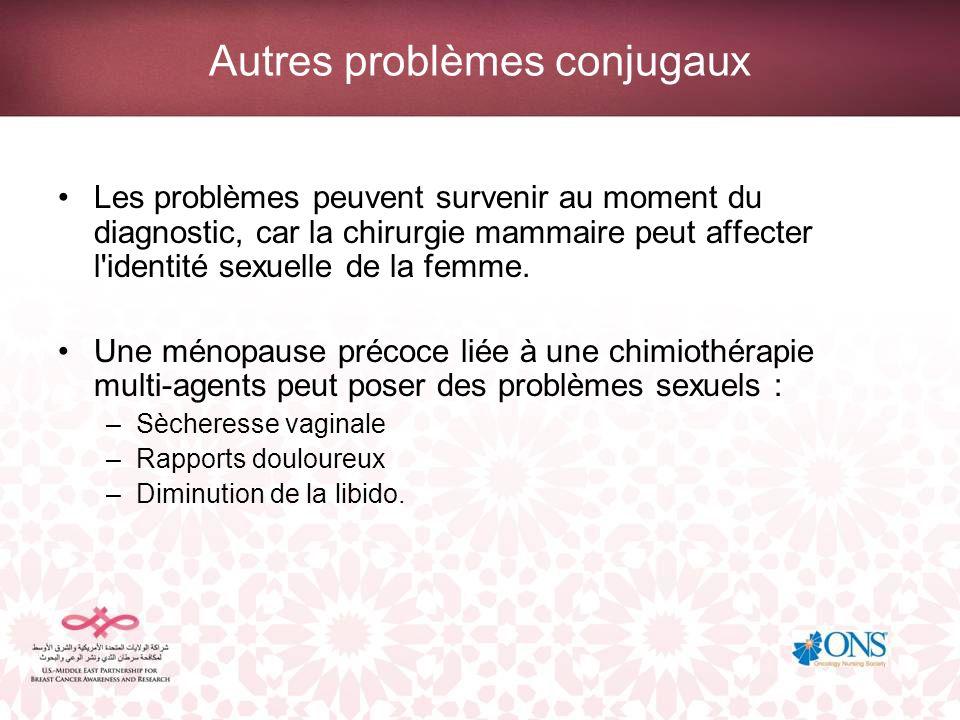 Autres problèmes conjugaux Les problèmes peuvent survenir au moment du diagnostic, car la chirurgie mammaire peut affecter l'identité sexuelle de la f