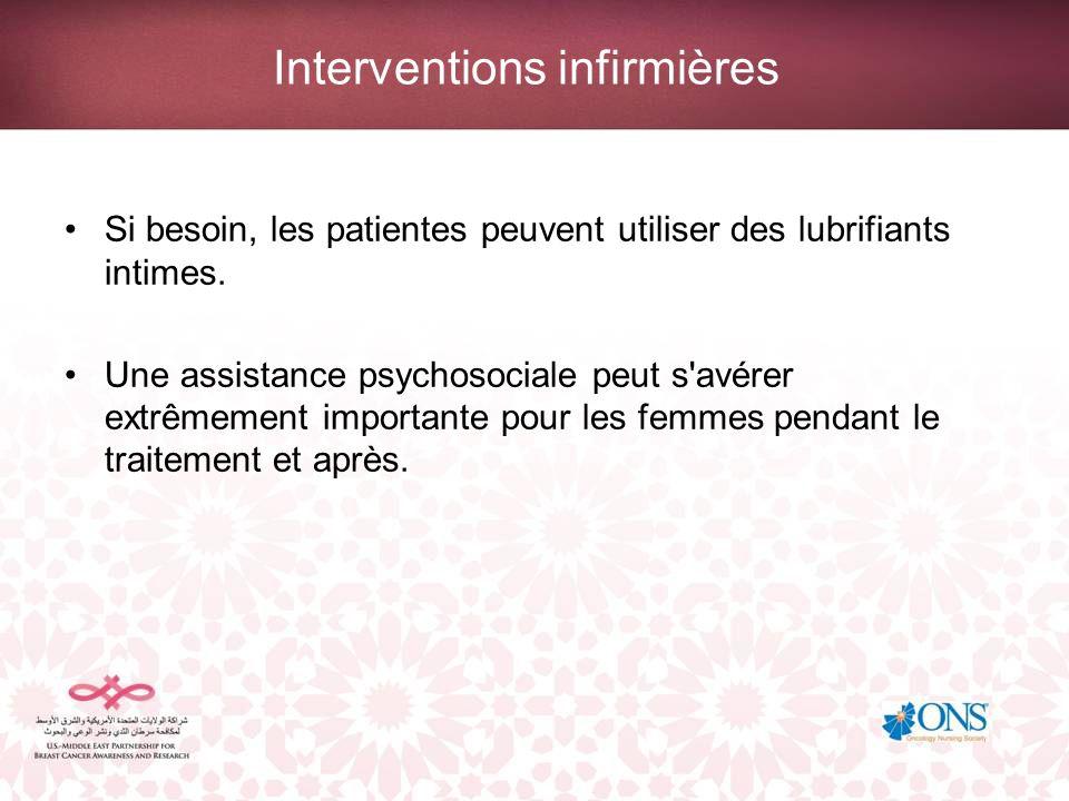 Interventions infirmières Si besoin, les patientes peuvent utiliser des lubrifiants intimes. Une assistance psychosociale peut s'avérer extrêmement im