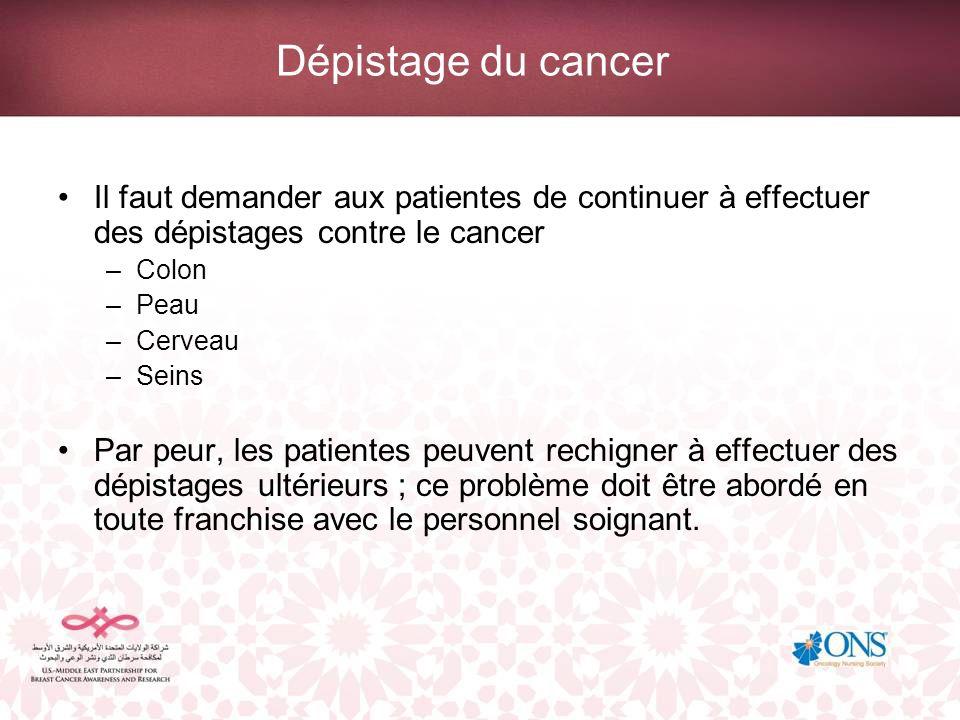 Dépistage du cancer Il faut demander aux patientes de continuer à effectuer des dépistages contre le cancer –Colon –Peau –Cerveau –Seins Par peur, les