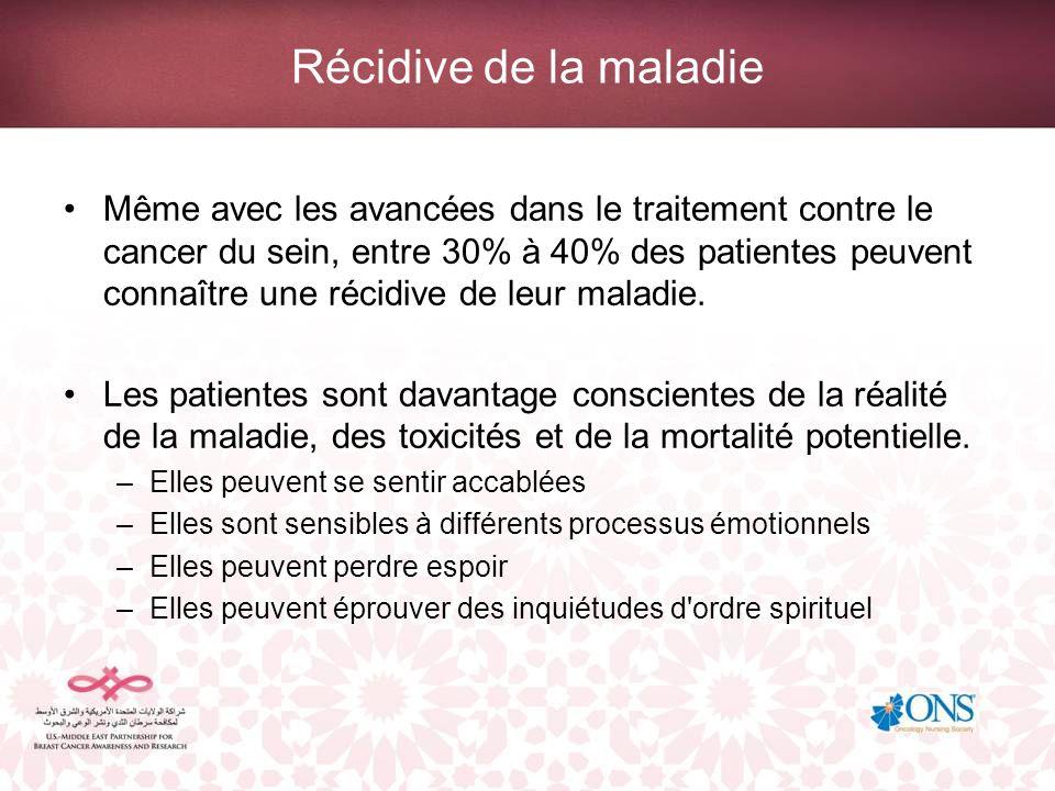 Récidive de la maladie Même avec les avancées dans le traitement contre le cancer du sein, entre 30% à 40% des patientes peuvent connaître une récidiv