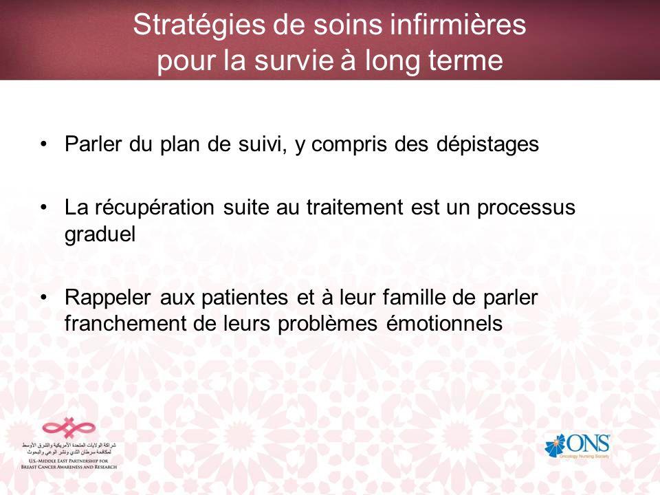 Stratégies de soins infirmières pour la survie à long terme Parler du plan de suivi, y compris des dépistages La récupération suite au traitement est